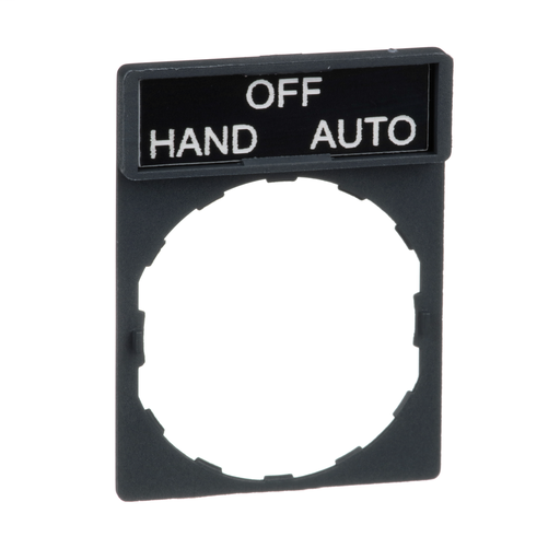 Harmony, 22mm Push Button, legend holder 30 x 40 mm, with legend 8 x 27 mm, marked HAND OFF AUTO