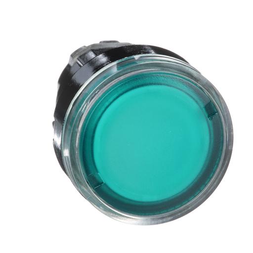 Harmony, 22mm Push Button, illuminated pushbutton head, flush, spring return, green, for BA9s bulb