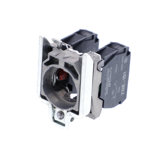 Harmony, 22mm Push Button, XB4B operators, contact block, with mounting collar, 1 NO and 1 NC, screw clamp terminal