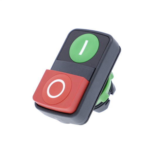 Double-headed push button head, plastic, Ø22, 1 green flush marked I + 1 red projecting marked O
