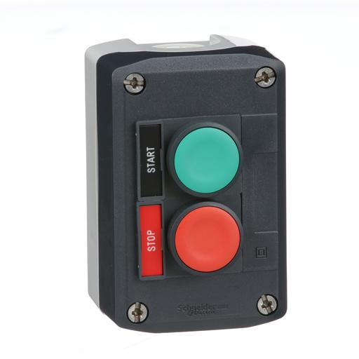 Harmony, dark grey control station, green flush and red flush push buttons, 22 mm spring return