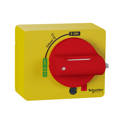 Direct rotary handle, ComPact NSXm, red handle on yellow front, IP40