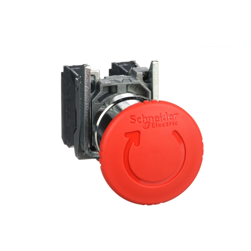 Harmony, emergency stop, latching turn release, red, 40 mm, 1 NC and 1 NO