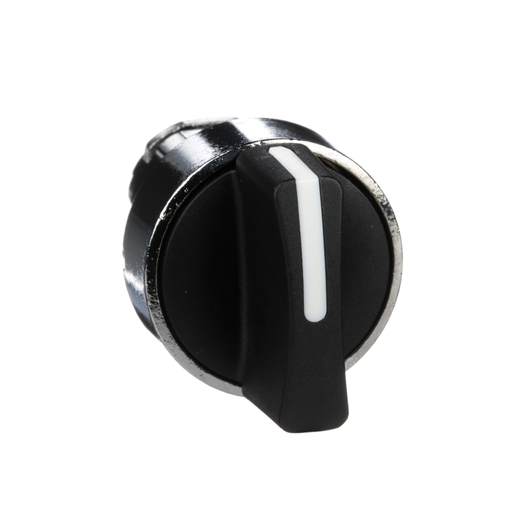 Harmony, 22mm Push Button, selector switch operating head, 3 position, spring return, black, unmarked