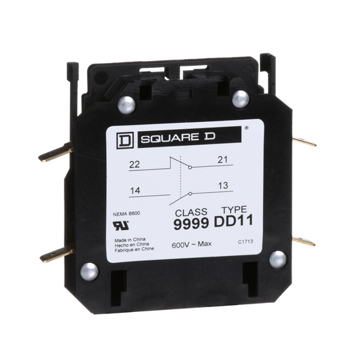 Contactor, Definite Purpose, auxiliary contact, 3A, 1 NO contact and 1 NC contact, for 20A to 40A DPA contactors