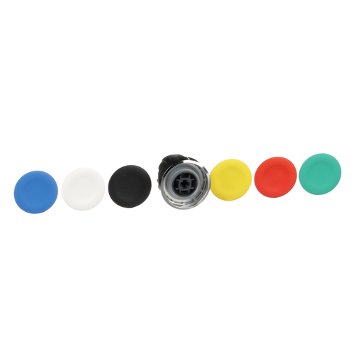 Harmony, 22mm Push Button, flush push button head, spring return, black, green, red, white, yellow, blue, unmarked