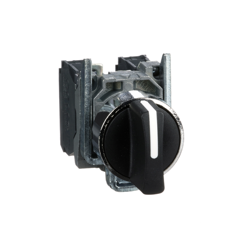 Harmony, 22mm Push Button, 3 position selector switch, black, spring return, 2 NO, 600 V