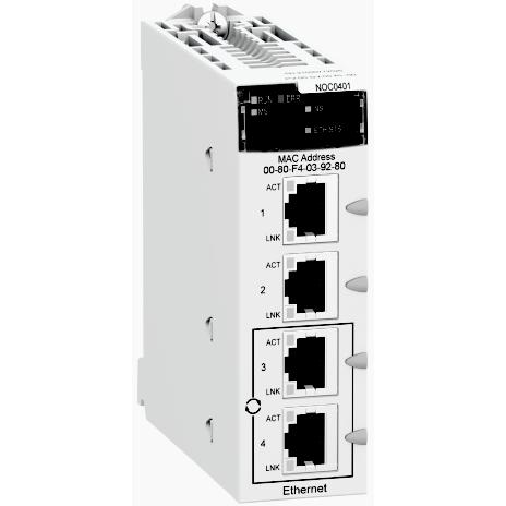 Mayer-Ethernet TCP/IP network module, Modicon M340 automation platform, 4 x RJ45 10/100-1