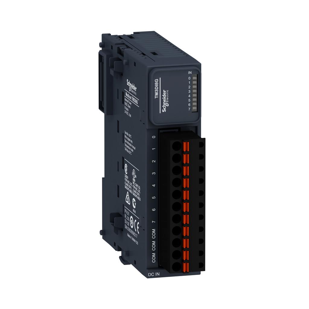 Discrete input module, Modicon TM3, 8 inputs (spring) 24 VDC