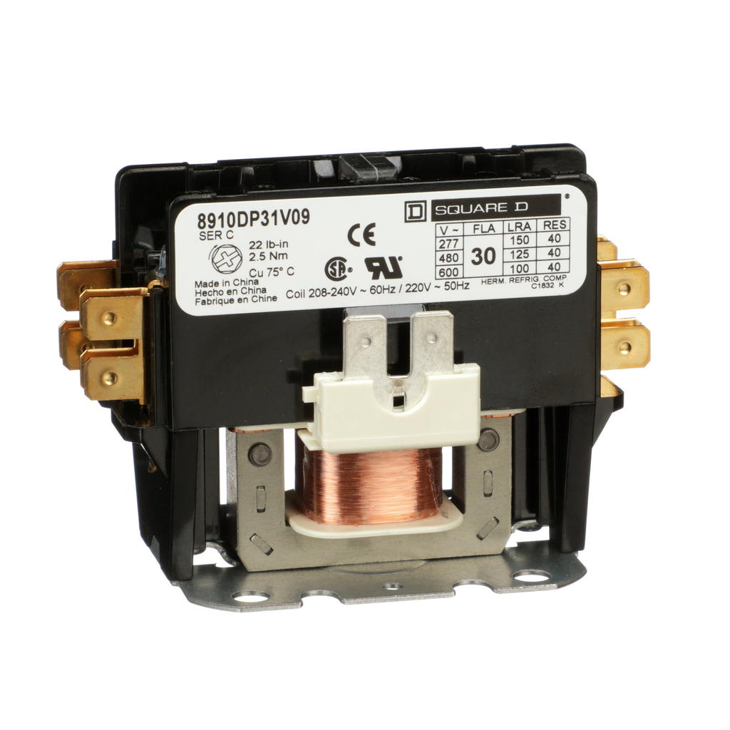 Square D 8910DP31V09 208 to 240 VAC 30 Amp 1-Pole 1NO NEMA 1 Non-Reversing Definite Purpose Contactor