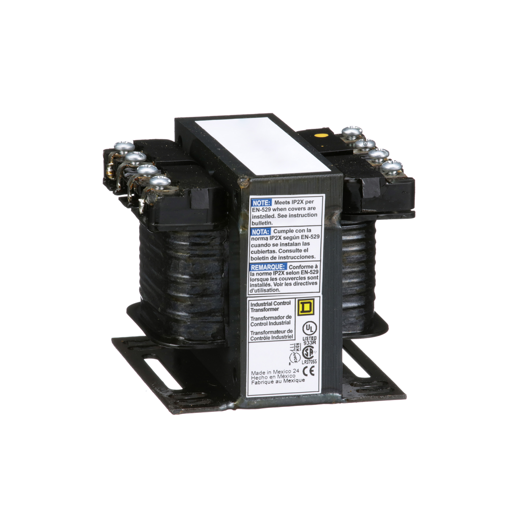 Square D 9070T100D5 100 VA 600 VAC Primary 120 VAC Secondary 1-Phase Control Transformer