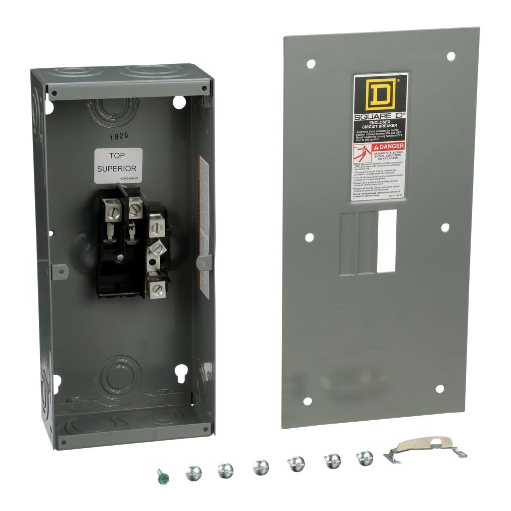 Square D QO2100BNF 100 Amp 5.88 x 3.38 x 13.12 Inch Steel NEMA 1 Flush Mount Circuit Breaker Enclosure