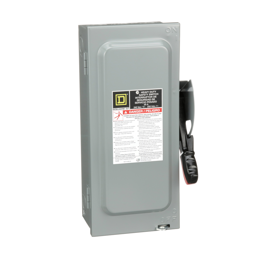 Square-D H321N Safety Switch Fusible HD 30A-240V-4SN 3P Neutral , Single Throw