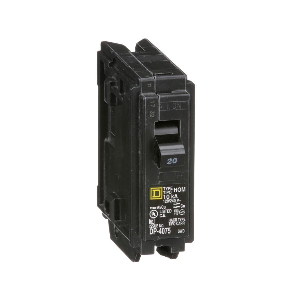 Square D HOM120 120/240 Volt 20 Amp Miniature Circuit Breaker