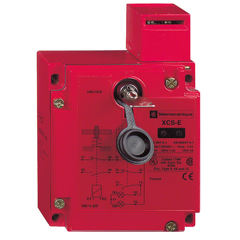 Square D XCSE5513 3.85 x 1.73 x 5.74 Inch 300 VAC 5 Amp 2NO 1NC Metal Enclosure Safety Interlock Switch