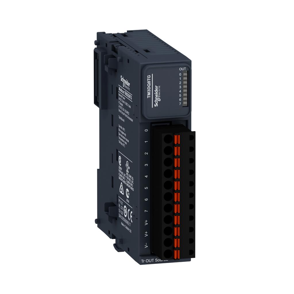 Discrete output module, Modicon TM3, 8 outputs transistor PNP (spring)