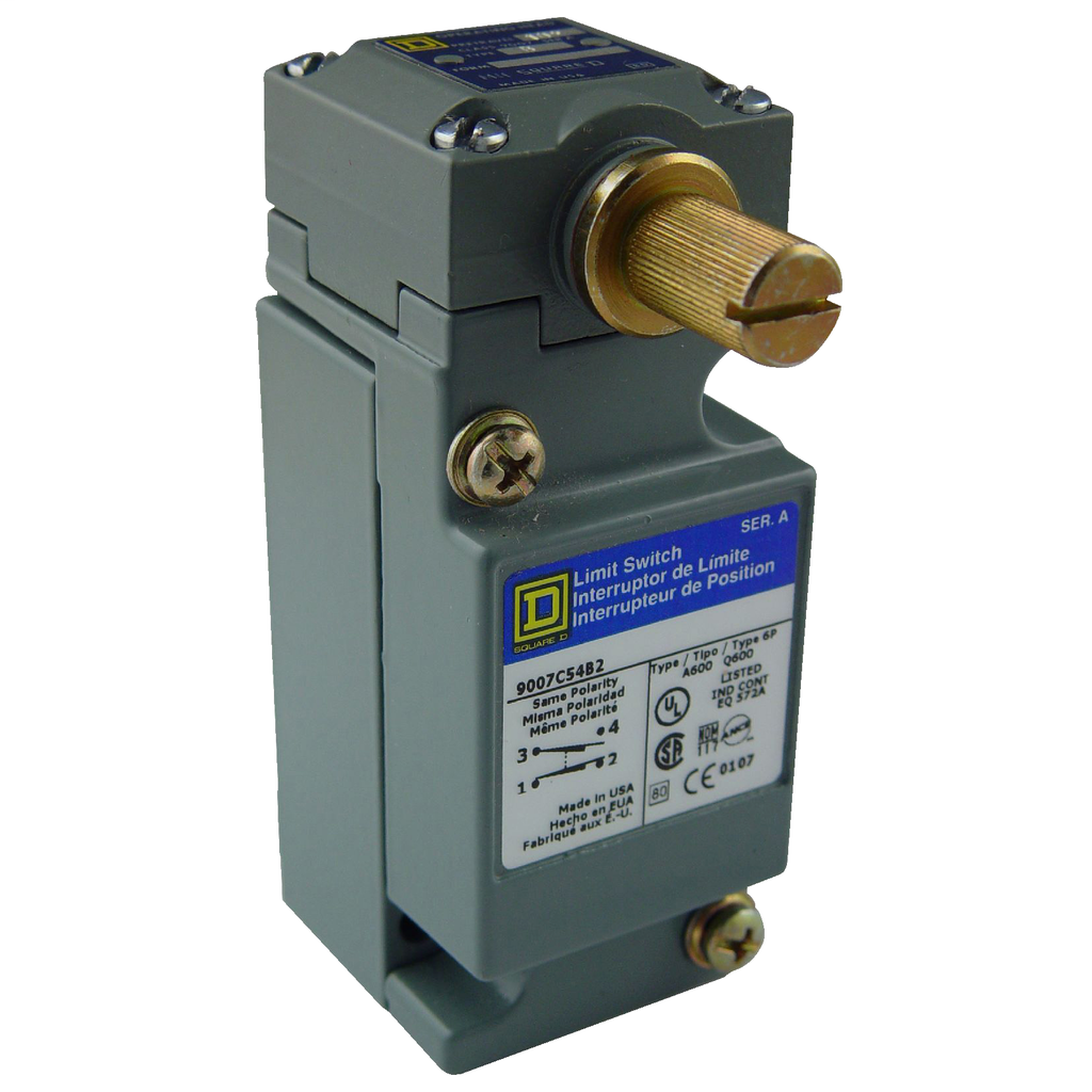Square D 9007C54B2Y128 600 VAC 10 Amp 1NO 1NC Rotary Lever Arm Plug-In Heavy Duty Limit Switch