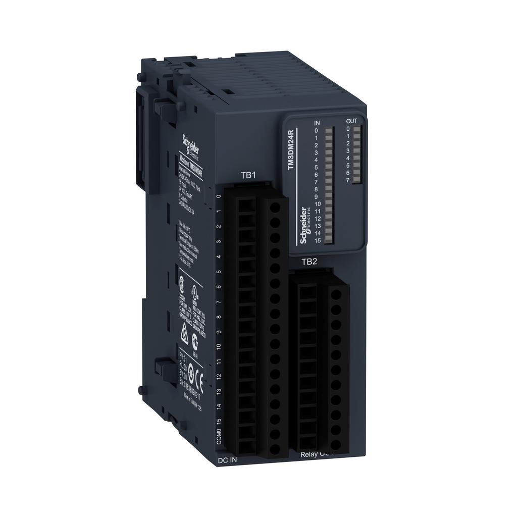 Discrete I/O module, Modicon TM3, 24 IO (16 inputs, 8 relay outputs, screw) 24 VDC
