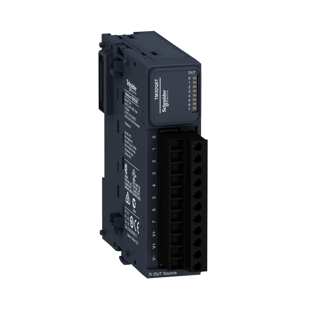 Discrete output module, Modicon TM3, 8 outputs transistor PNP (screw)