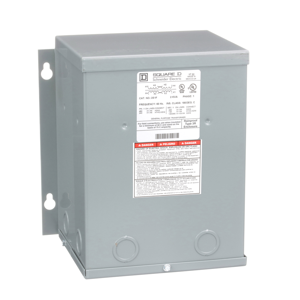 Square-D 2S1F 2 kVa 240 x 480 VAC Primary 120/240 VAC Secondary Dry Type General Purpose Transformer