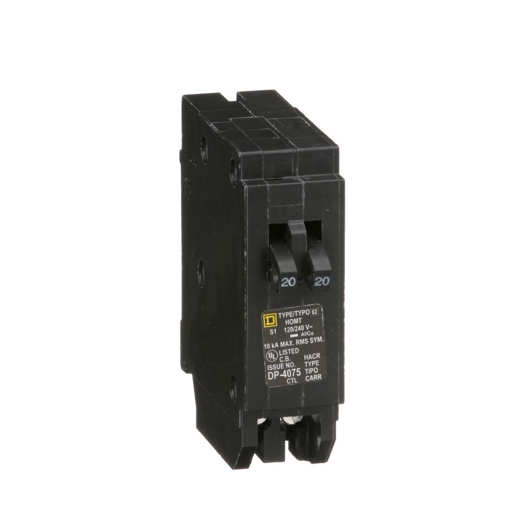Square-D HOMT2020 Homeline Tandem Miniature Circuit Breaker 20&20 1P , Plug-On