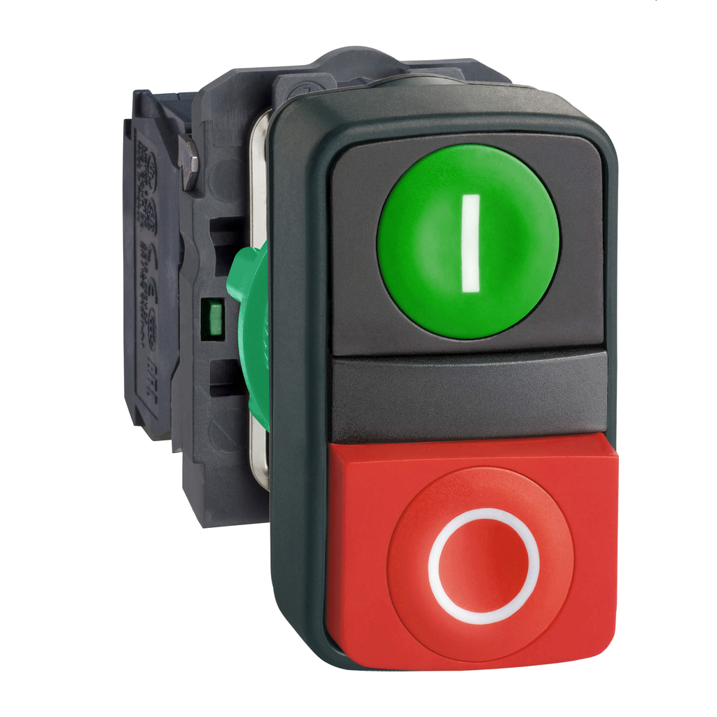 Double-headed push button, plastic, Ø22, 1 green flush marked I + 1 red projecting marked O, 1 NO + 1 NC