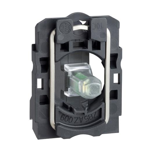 Mayer-Light block with body/fixing collar, plastic, green, integral LED, 110…120 V AC-1
