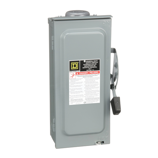 Mayer-Safety switch, general duty, fusible, 60A, 3 poles, 15 hp, 240 VAC, NEMA 3R, bolt-on provision, neutral factory installed-1