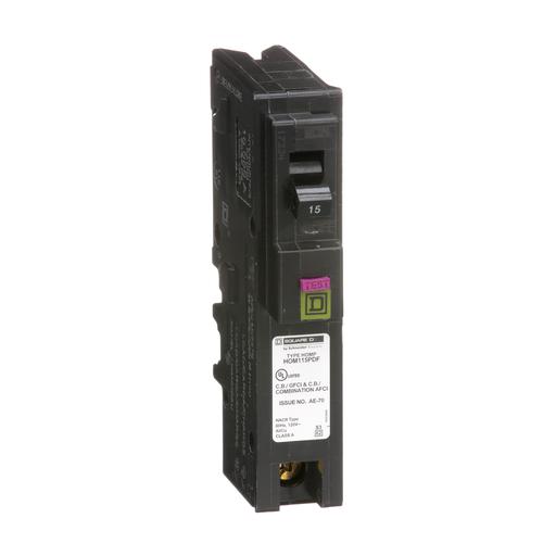 Mayer-Mini circuit breaker, Homeline, 15A, 1 pole, 120 VAC, 10 kA AIR, combo ARC/ground fault, plug on neutral, plug in mount-1