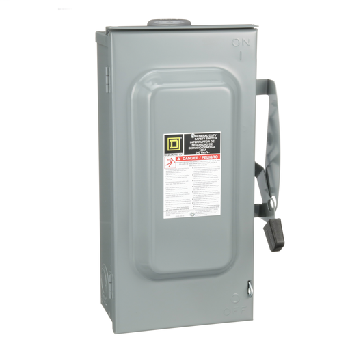 Mayer-Safety switch, general duty, fusible, 100A, 3 poles, 30 hp, 240 VAC, NEMA 3R, bolt-on provision, neutral factory installed-1