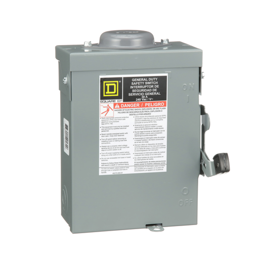 Mayer-Safety switch, general duty, non fusible, 30A, 3 poles, 7.5 hp, 240 VAC, NEMA 3R, bolt-on provision-1