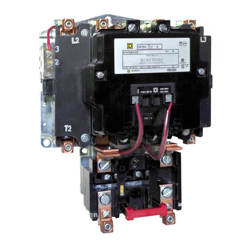Mayer-NEMA Motor Starter, Type S, nonreversing, extra capacity, 15 HP at 230 VAC, 5 kA SCCR, 1 phase, 2 pole, melting alloy, 120 VAC coil, open-1