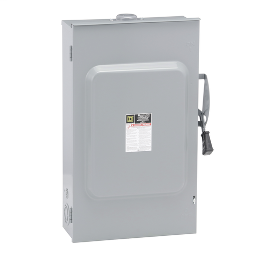 Mayer-Safety switch, general duty, fusible, 200A, 3 poles, 60 hp, 240 VAC, NEMA 3R, bolt-on provision, neutral factory installed-1