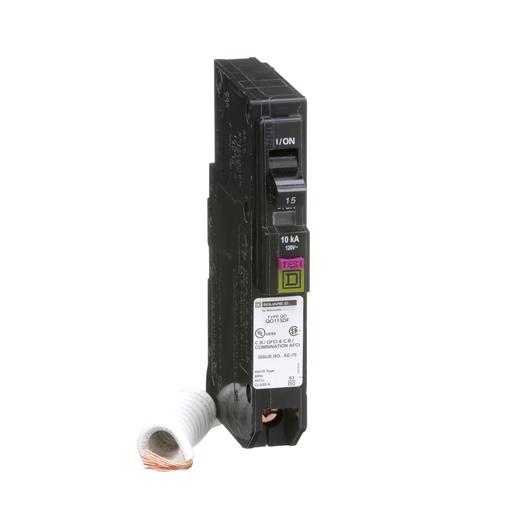Mayer-Mini circuit breaker, QO, 15A, 1 pole, 120 VAC, 10 kA, dual function, pigtail, plug in mount-1