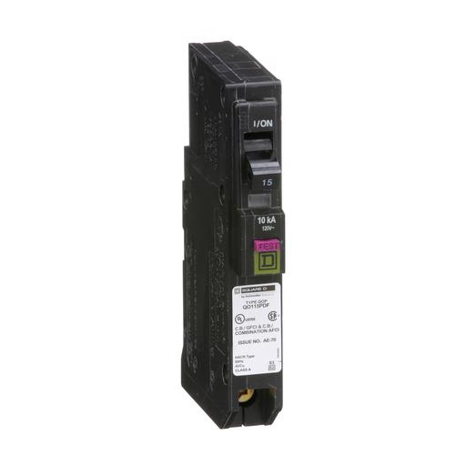 Mayer-Mini circuit breaker, QO, 15A, 1 pole, 120 VAC, 10 kA, dual function, plug on neutral, plug in mount-1