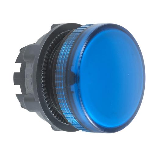 Mayer-Pilot light head, plastic, blue, Ø22, plain lens for integral LED-1