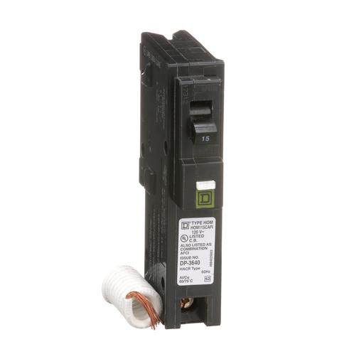 Mayer-Mini circuit breaker, Homeline, 15A, 1 pole, 120 VAC, 10 kA AIR, combo arc fault, pigtail neutral, plug in mount-1