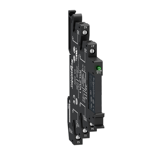 Mayer-Slim interface relay pre-assembled, 6 A, 1 CO, LED, protection module, spring terminal, 24 V AC-1
