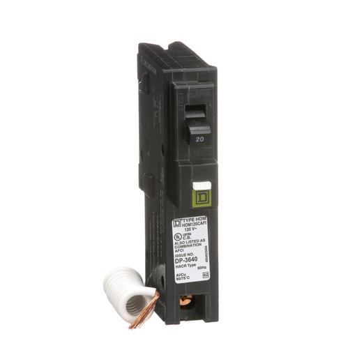 Mayer-Mini circuit breaker, Homeline, 20A, 1 pole, 120 VAC, 10 kA AIR, combo arc fault, pigtail neutral, plug in mount-1