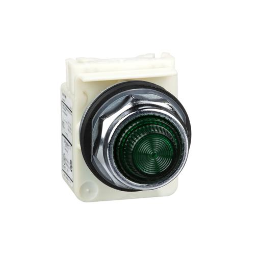 Mayer-30mm Push Button, Type K, pilot light, transformer, 120 VAC, green fresnel cap-1