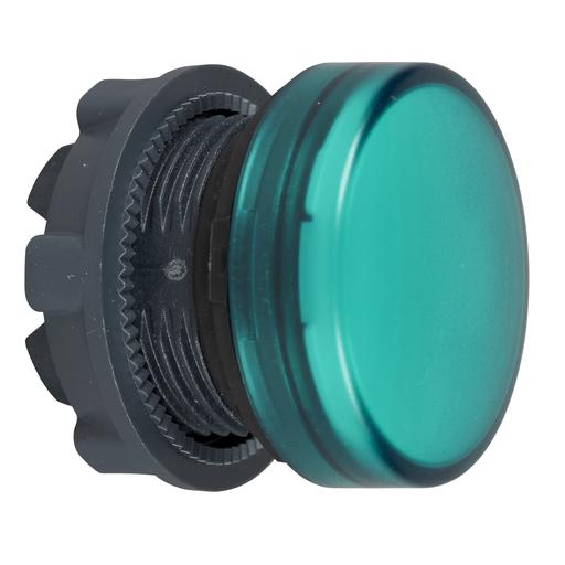 Mayer-Pilot light head, plastic, green, Ø22, plain lens for integral LED-1