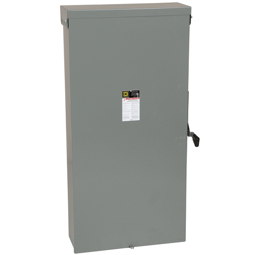 Mayer-Safety switch, general duty, fusible, 600A, 2 poles, 120 VAC, NEMA 3R, neutral factory installed-1