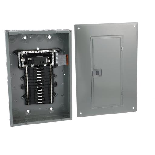 Mayer-Load center, QO, 1 phase, 24 spaces, 34 circuits, 100A convertible main breaker, PoN, NEMA1, combo cover, UL-1