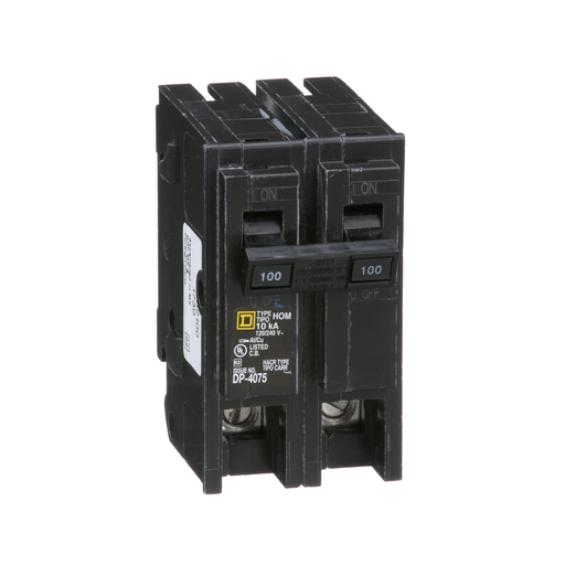 Mayer-Mini circuit breaker, Homeline, 100A, 2 pole, 120/240 VAC, 10 kA AIR, standard type, plug in mount-1