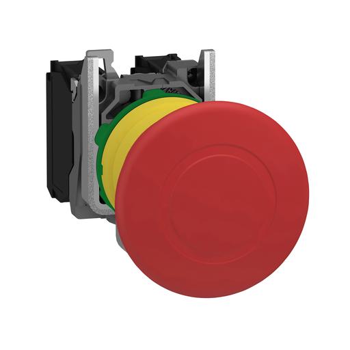 Mayer-Emergency stop switching off, plastic, red mushroom Ø40, Ø22 trigger latching push-pull, 1 NO + 1 NC-1