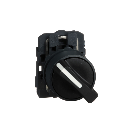 Mayer-Harmony, 22mm Push Button, 2 position selector switch, black, maintained, 1 NO, marked OFF ON-1