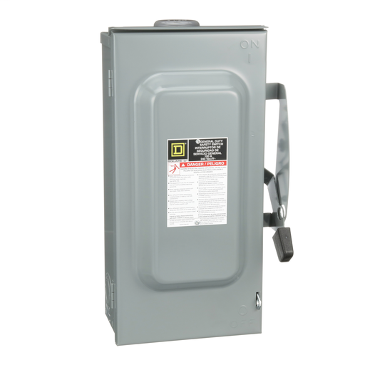 Mayer-Safety switch, general duty, non fusible, 100A, 3 poles, 30 hp, 240 VAC, NEMA 3R, bolt-on provision-1