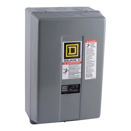 Mayer-8903L electrically held lighting contactor, 12 P, 12 NO, 30 A, 600 V, 277 V 60 Hz coil, NEMA 1, selector switch-1
