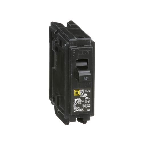 Mayer-Mini circuit breaker, Homeline, 15A, 1 pole, 120/240 VAC, 10 kA AIR, standard type, plug in mount-1