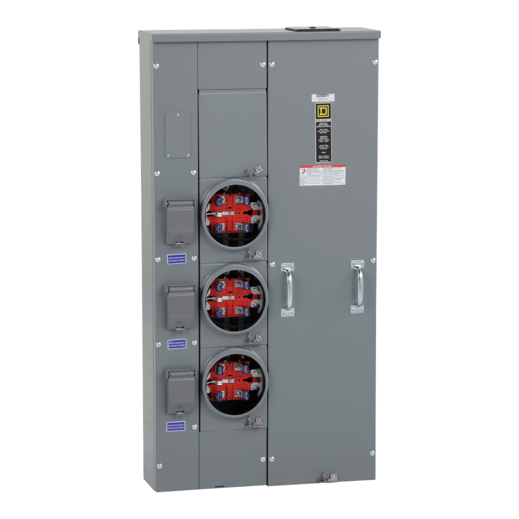Mayer-MP Meter Pak, meter center, three ringless sockets, no bypass, 5th jaw, OH, UG, 300 A bus, 125 A, 240 VAC single phase 3W-1